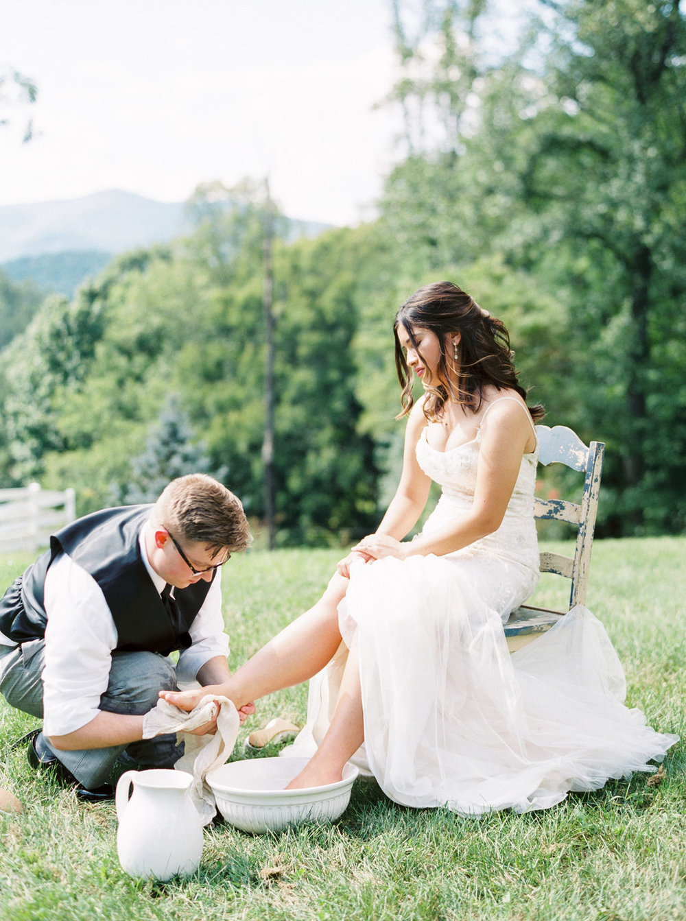 Bride and Groom foot washing