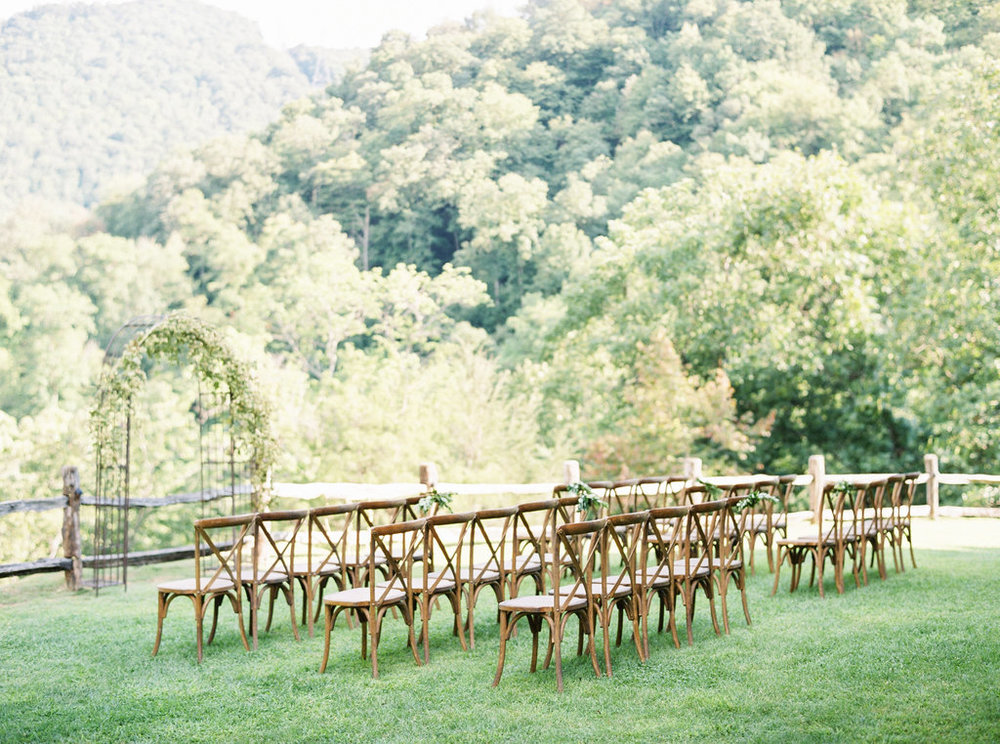 Wedding ceremony in North Carolina with x back chairs
