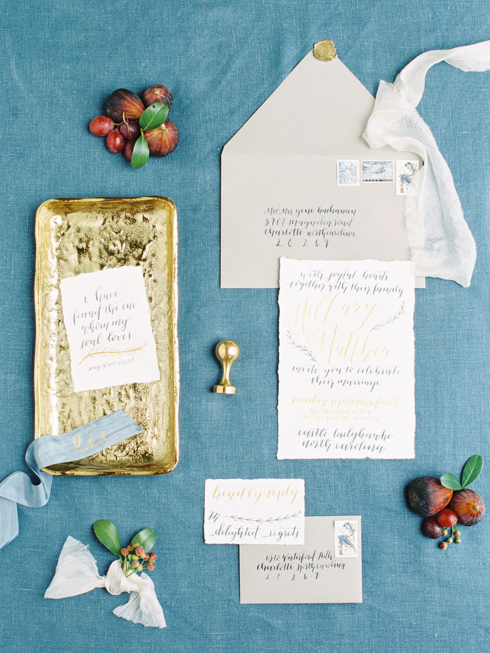 Blue and gold calligraphy wedding invitation suite