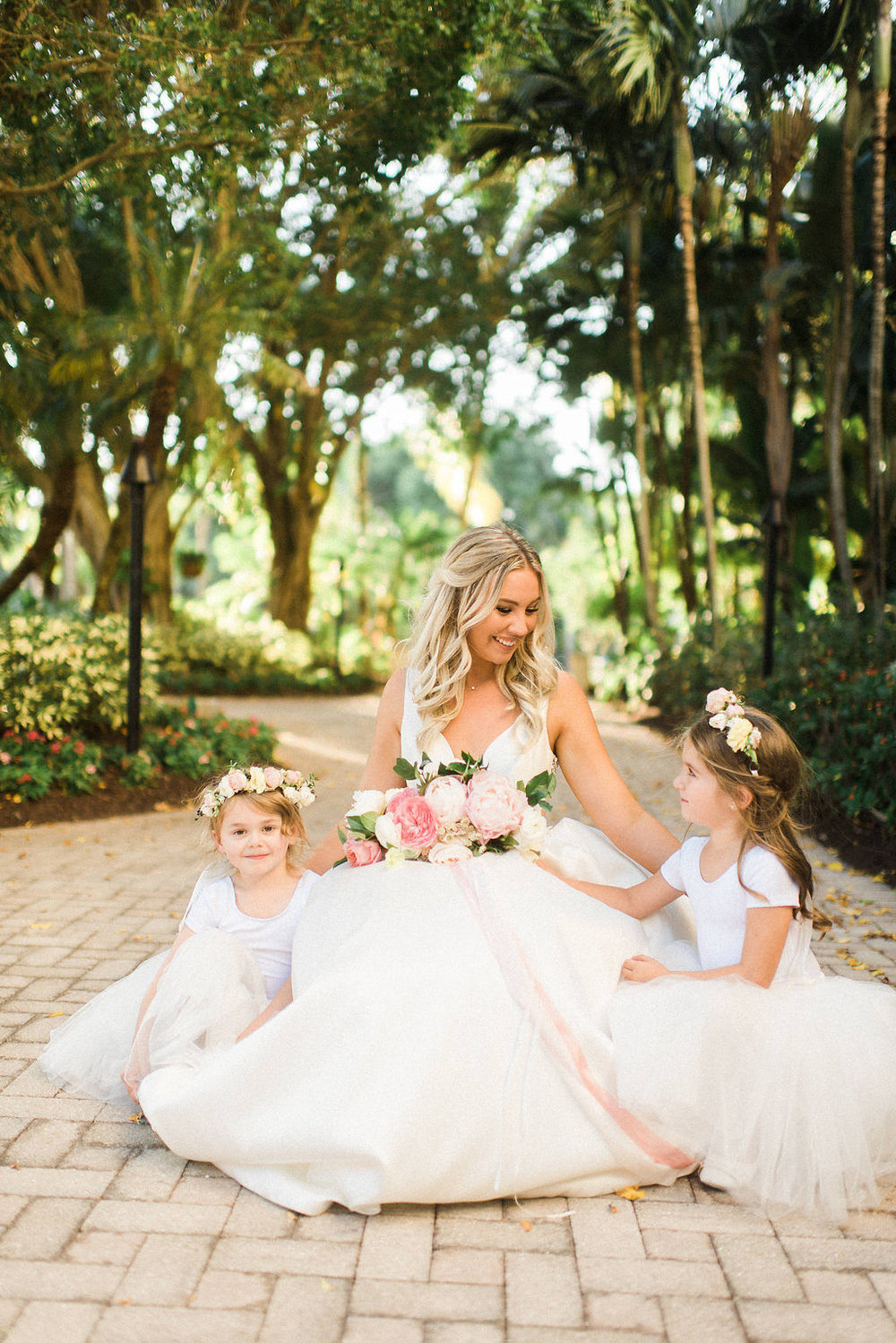 Bride and flower girls at Hyatt Regency at Coconut Point Florida
