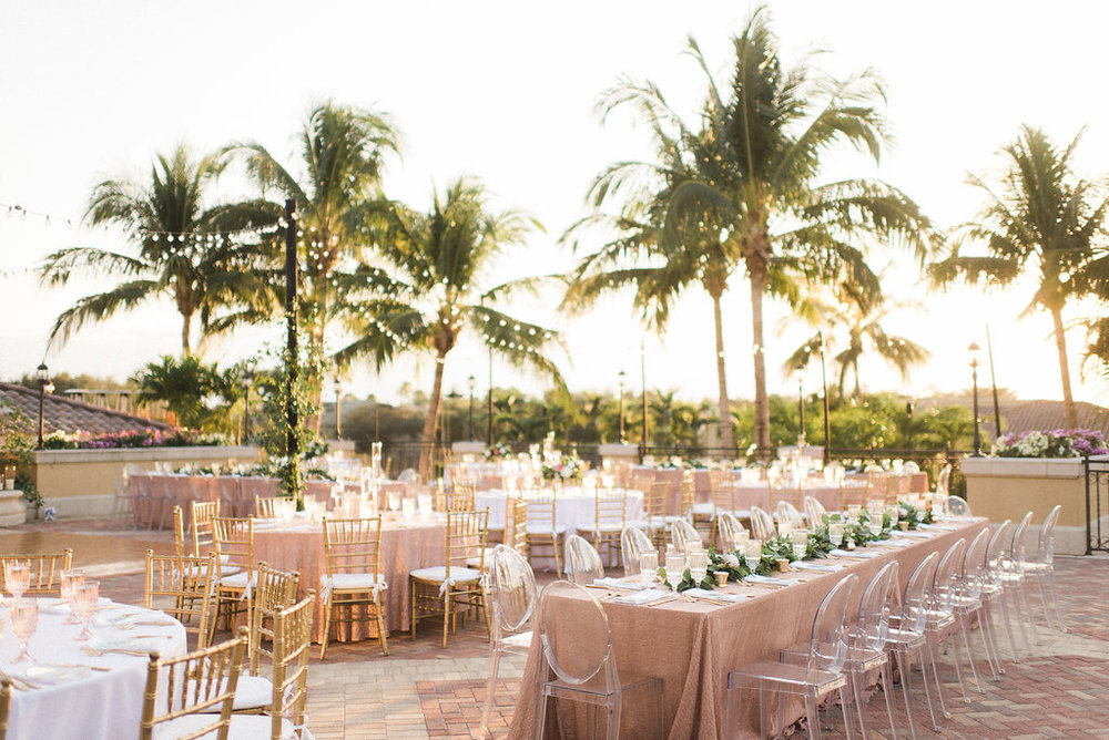 Blush and Gold outdoor wedding reception at the Hyatt Regency at Coconut Point