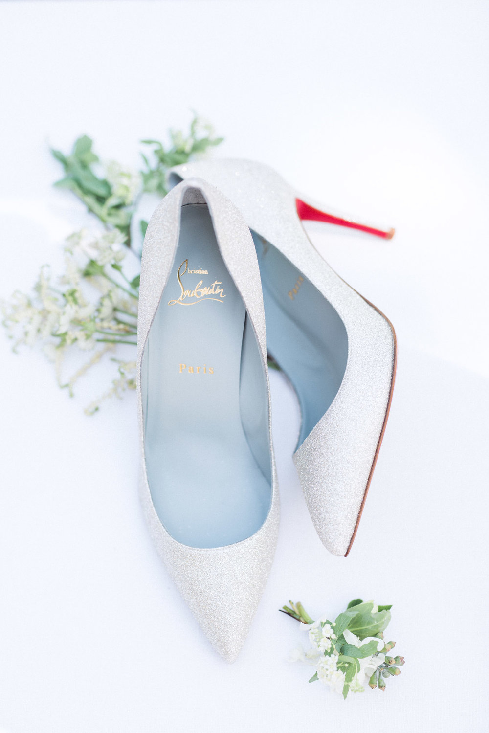 christian Louboutin silver stiletto wedding shoes