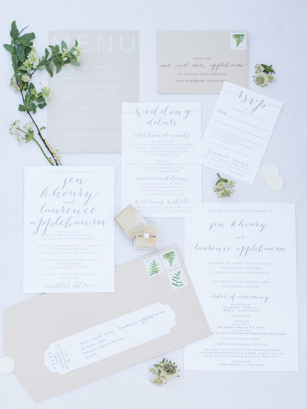 White, beige and grey wedding invitation suite
