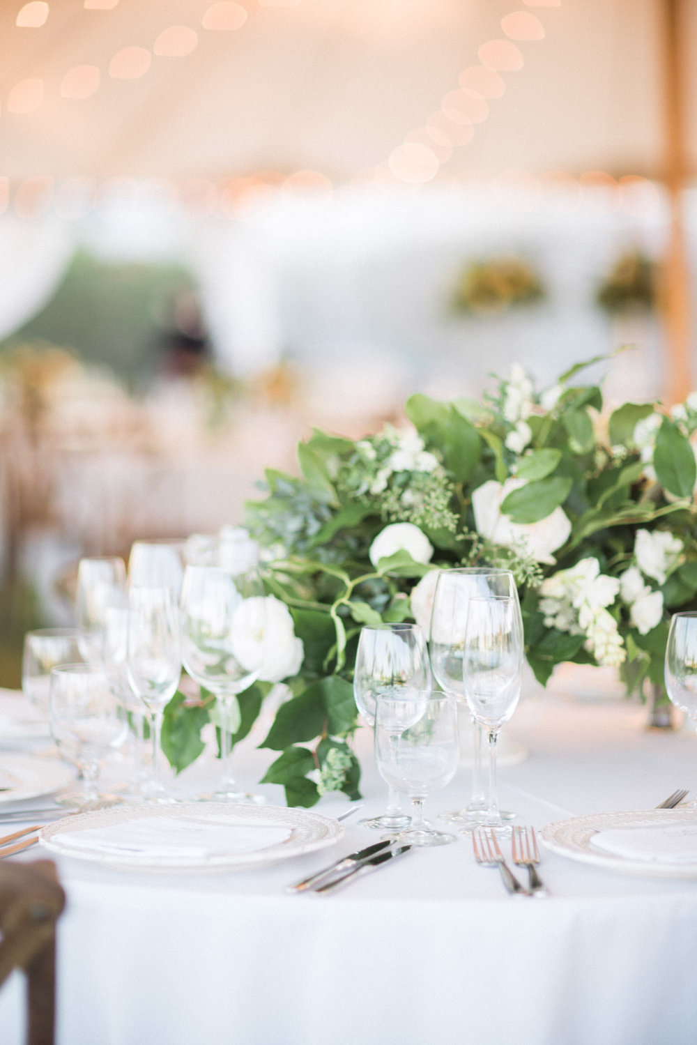 Greenery centerpiece at wedding reception