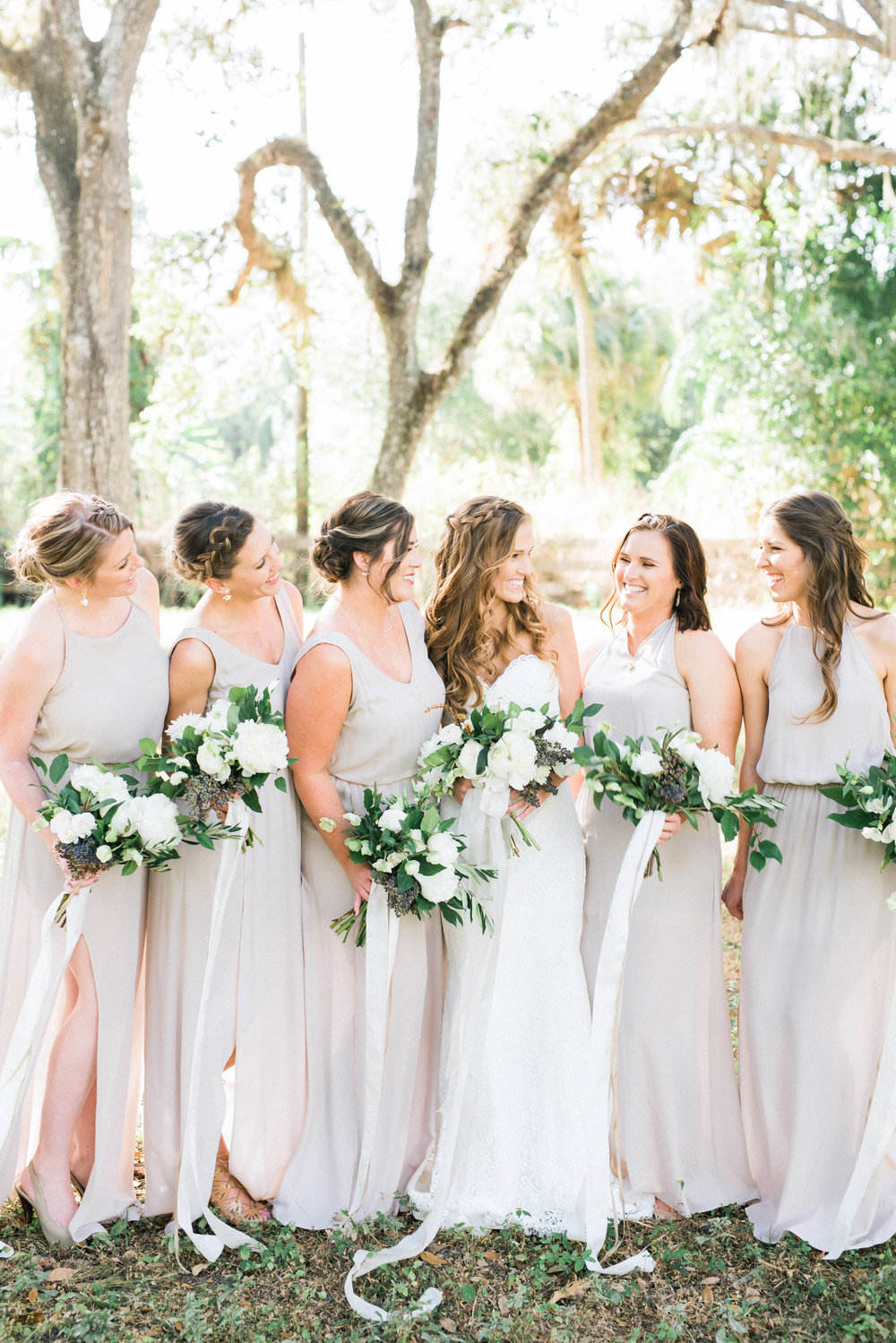 Neutral bridesmaids dresses, organic bouquets with white peonies, Bride and bridesmaids, outdoor wedding, Hunter Ryan Photography, Elleson Events