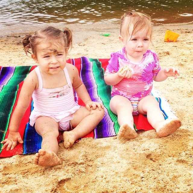 Nayeli Huxley & Marianne Cottrell enjoy a snack (or sand?) at Ft. Hamby Park/Lake.