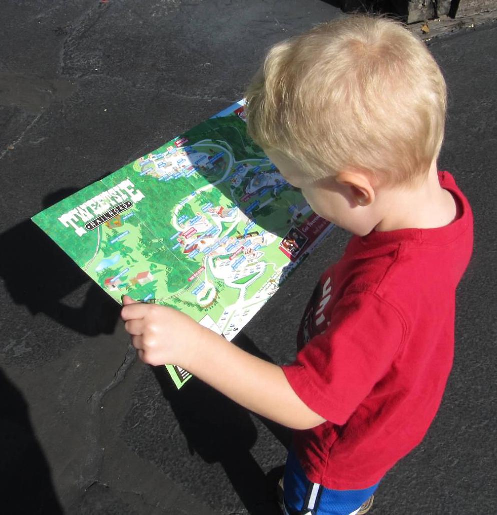 Elijah Cain explores the Tweetsie Railroad map.