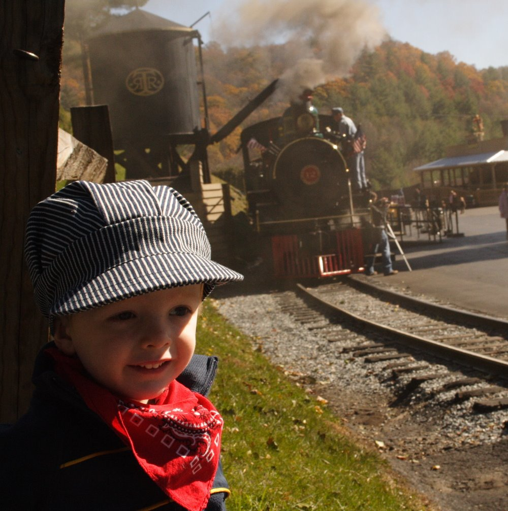 Sam Klear, age 2, in front of the train at Tweetsie Railroad.