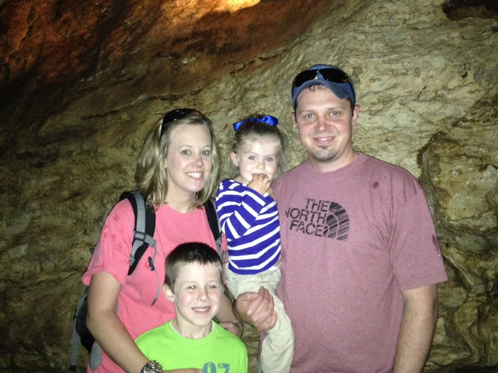 The Peavy family at Linville Caverns.