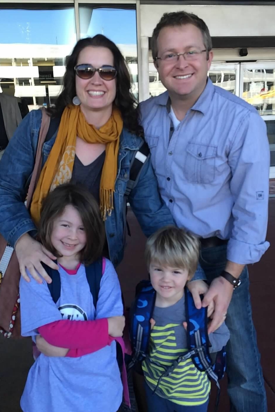 Lynn, Tim (serves with Int'l Projects Dept. in Boone), Stella and Bennett, as they started their journey to meet their new daughter in Uganda this past December.