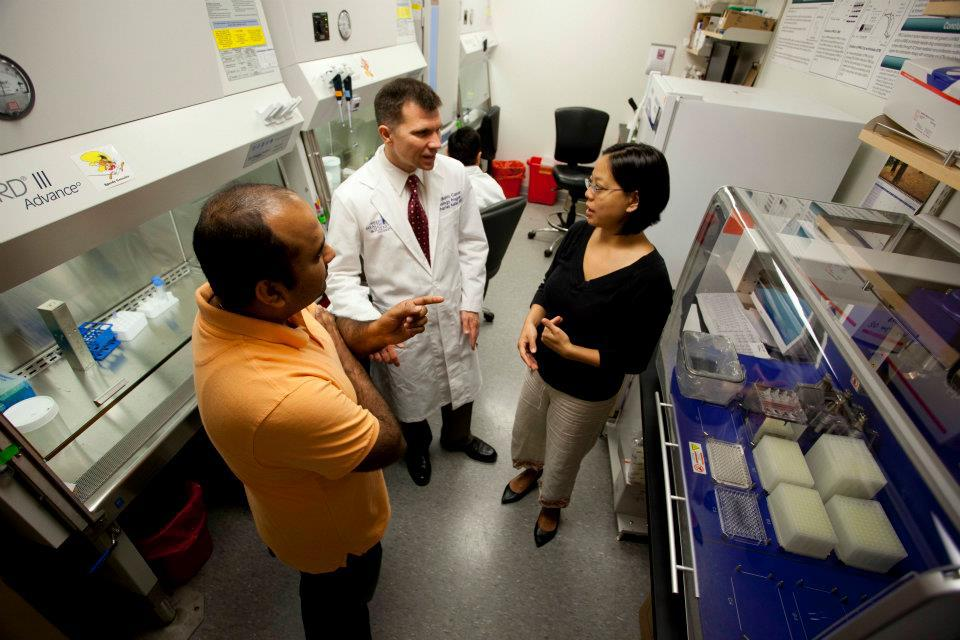 Dr. Keller and his team of researchers hard at work on a cure for rhabdomyosarcoma.