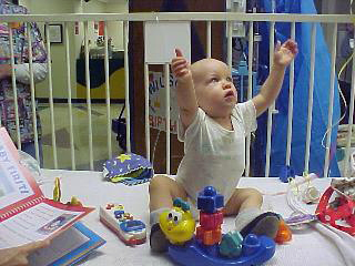 Wilson 1st Birthday & Last Chemo. Playing with Toys, November 2001