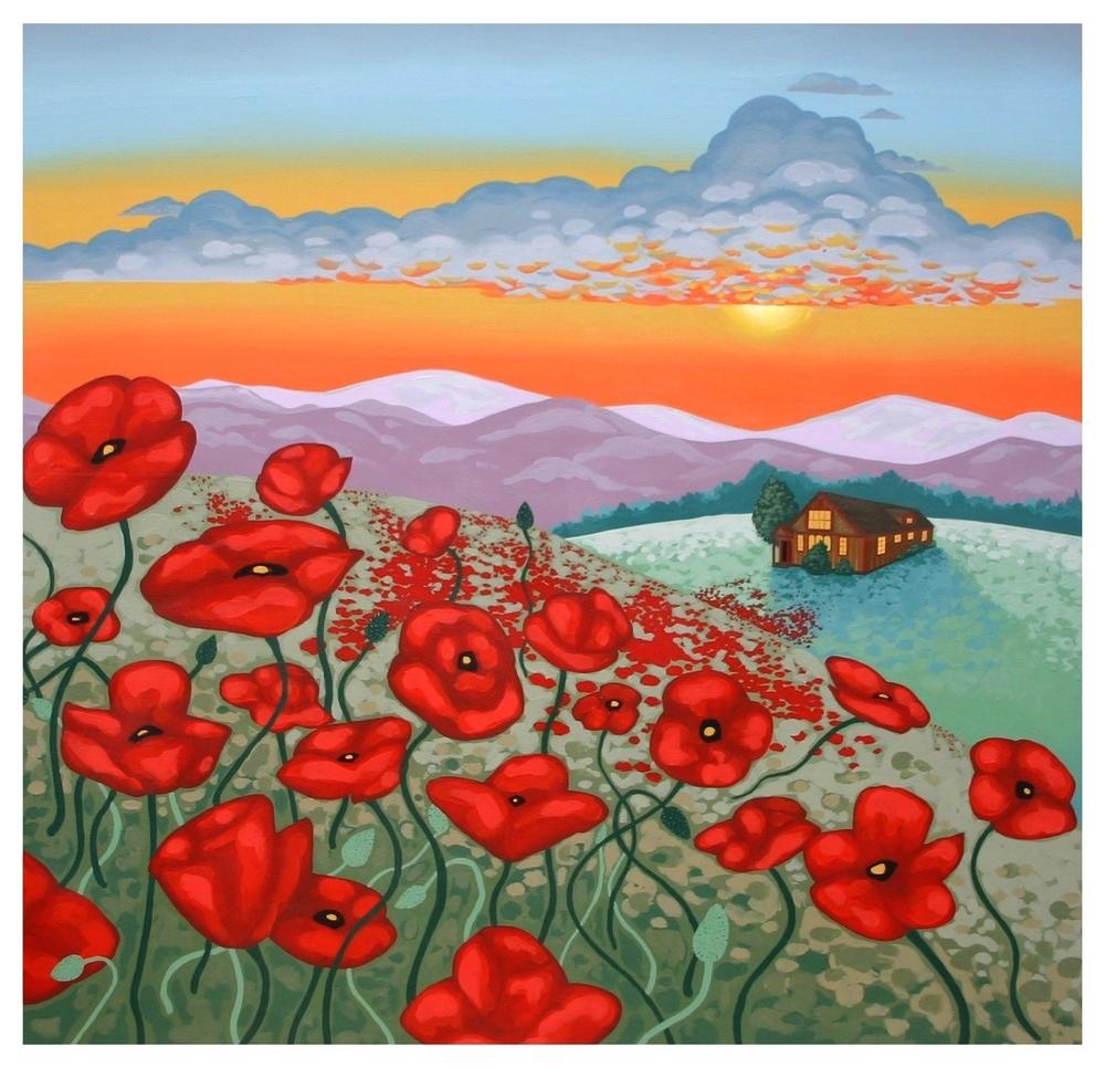 Poppies Mural Panel