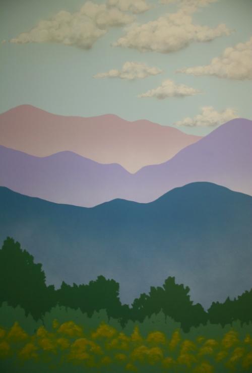 Mountains/trees detail