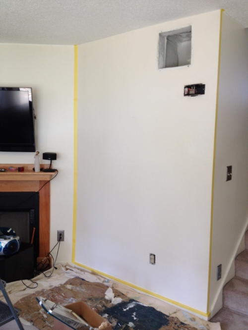 The living room wall before painting