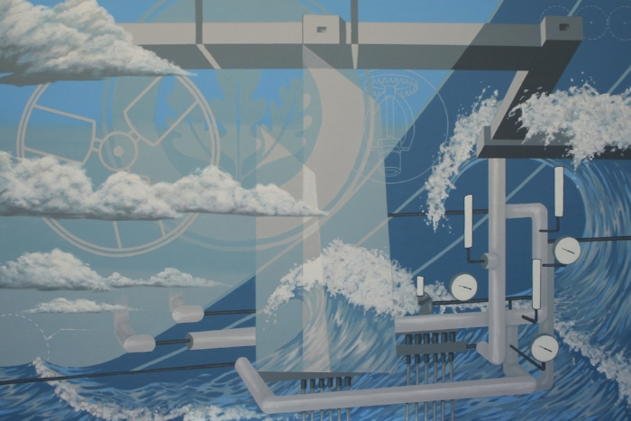 The first mural panel, displayed in Seaman Engineering's conference room