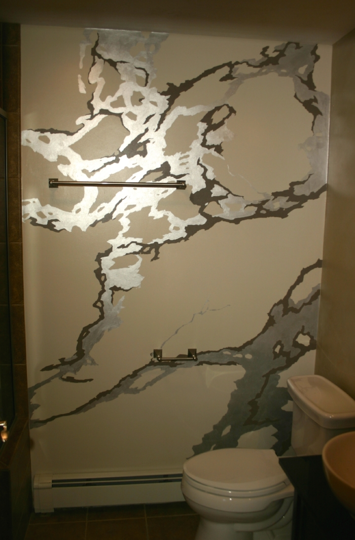 Marble pattern Statement Wall (with metallic silver)