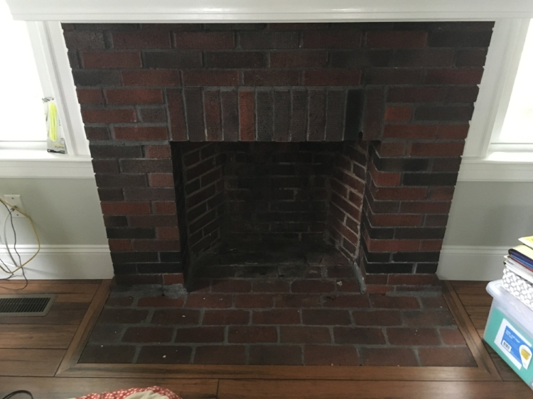 The fireplace before…