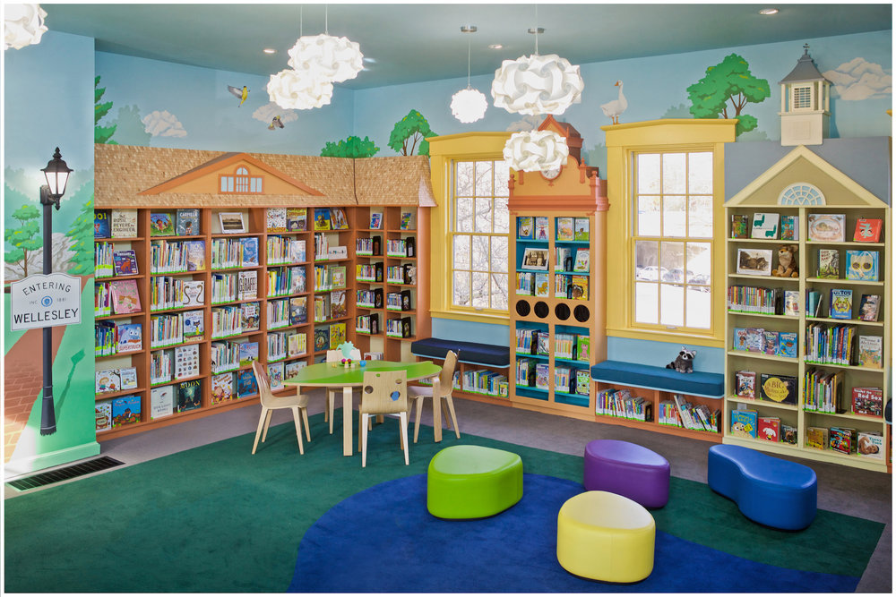 Full-room mural at Wellesley Free Library Fells Branch  CLICK IMAGE FOR STORY & MORE PICTURES