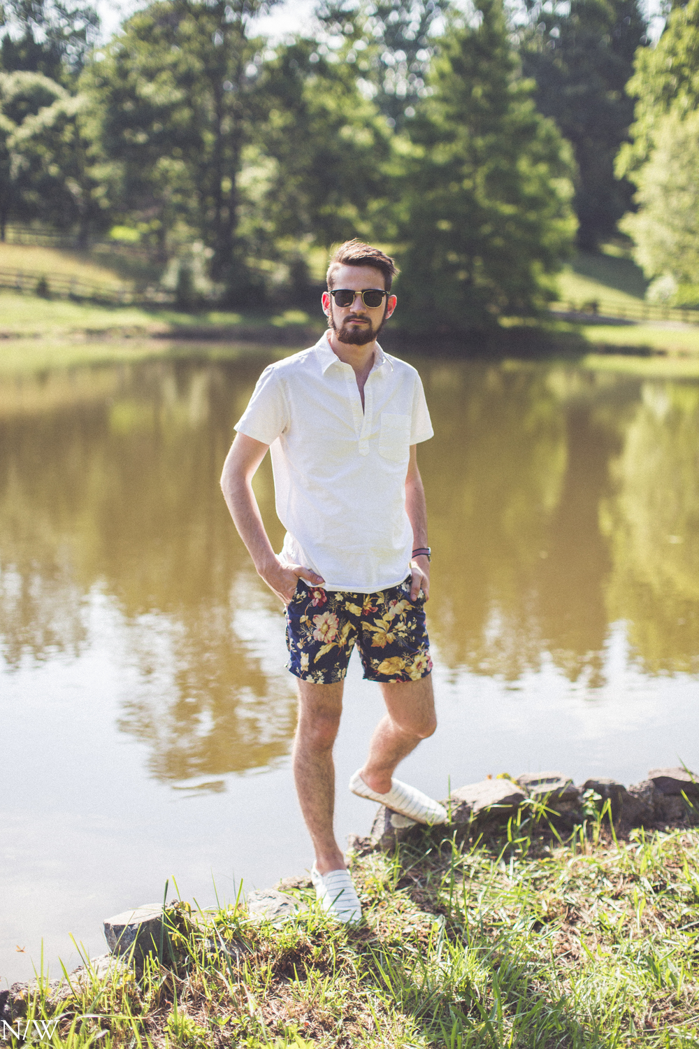 Shoes, Shirt, Swim Trunks: Jcrew