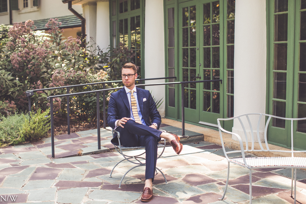 Shirt: Ledbury, Suit: J. Lindeburg, Shoes: Johnston & Murphy, Glasses: Burberry, Watch: Daniel Wellington
