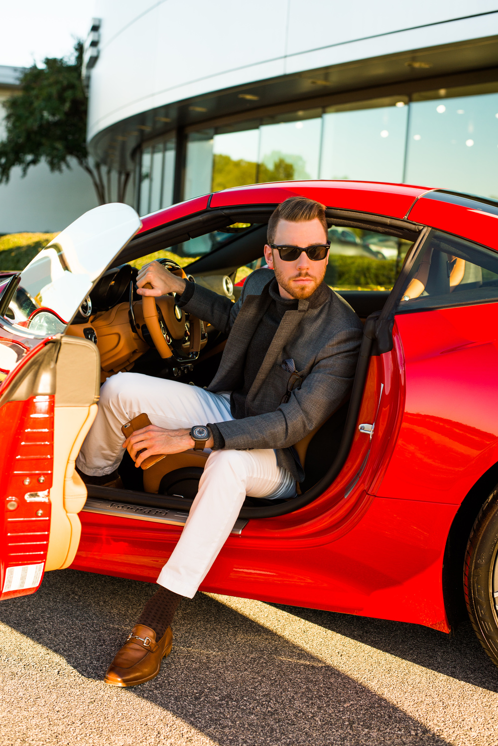 Blazer: SuitSupply, Pants: Banana Republic, Shoes: Johnston & Murphy, Watch: Seven Friday, Glasses: Ray-Ban, Sweater: Ralph Lauren, Car: Ferrari California T, Photo: Alec Hutchins Photography
