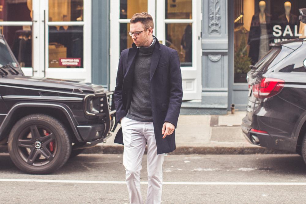 Overcoat/Pants: Banana Republic. Glasses/Sweater/Shirt: Ralph Lauren. Photo: Drew Hall