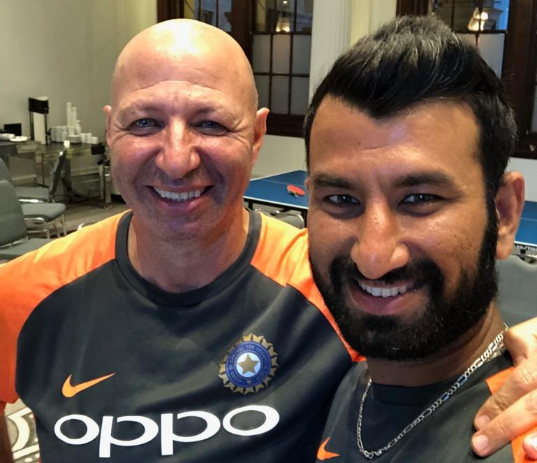 Cheteshwar Pujara and his physio Patrick Farhart