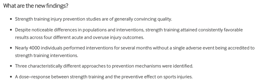 Fig. 1  New findings from strength training systematic review