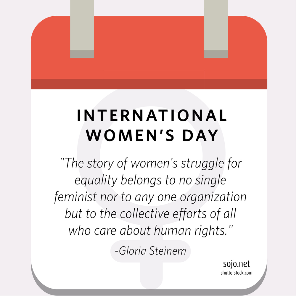 An image design to acknowledge International Women's Day for Sojourners' Women & Girls campaign.