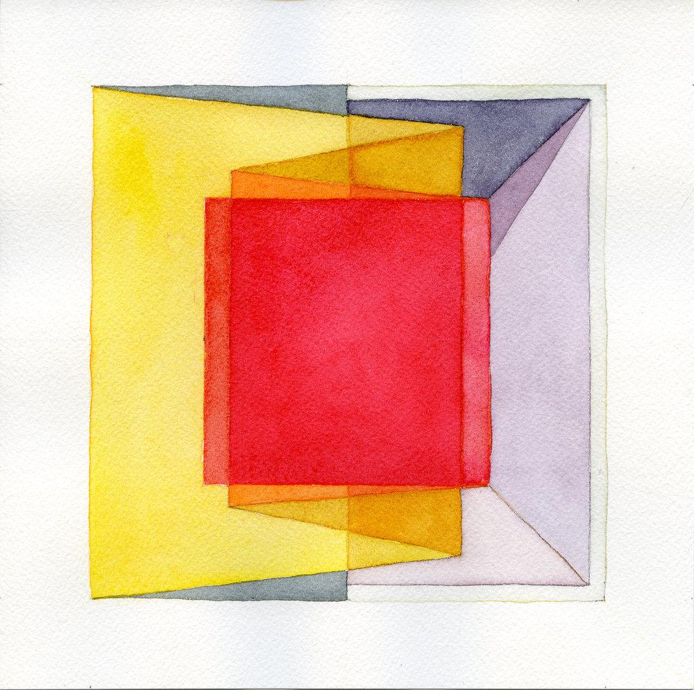 04-Caspar Fairhall-Folded cube-2016, 21 x 21 cm, watercolour, $690 (framed).jpg