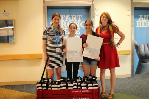 With Rachel Hochstetler (left) and Jennifer Witte (right) at Lucile Packard Children's Hospital.
