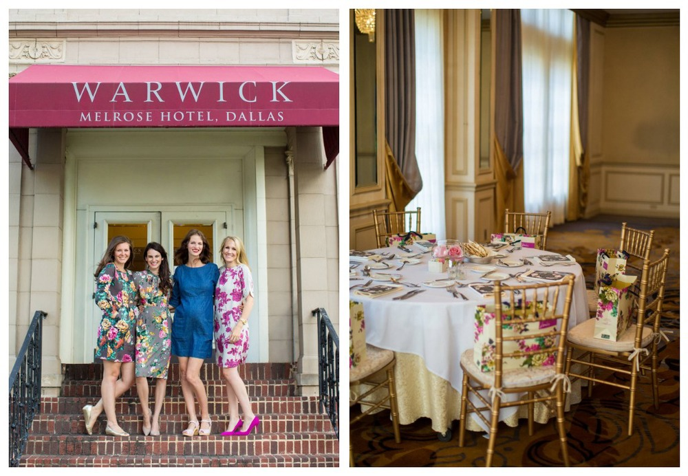 (L)  The Hundred Event  hosts:  Aspiring Kennedy ,  Megan K. Graham ,  Tales of Me + The Husband , &  Camp Patton . / (R) Our gorgeous venue and  Joules  goodie bags at the Warwick Melrose in Dallas.