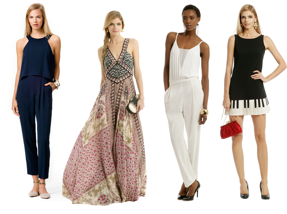 (L-R)  Trina Turk jumpsuit  /  Marchesa maxi  /  BCBGMAXAZRIA jumpsuit  /  Moschino Cheap and Chic dress