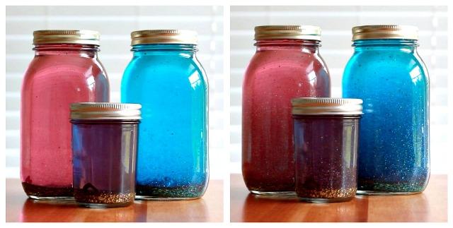Ta-da! Glitter + glue + glass = a mother's dream come true... or her worse nightmare...
