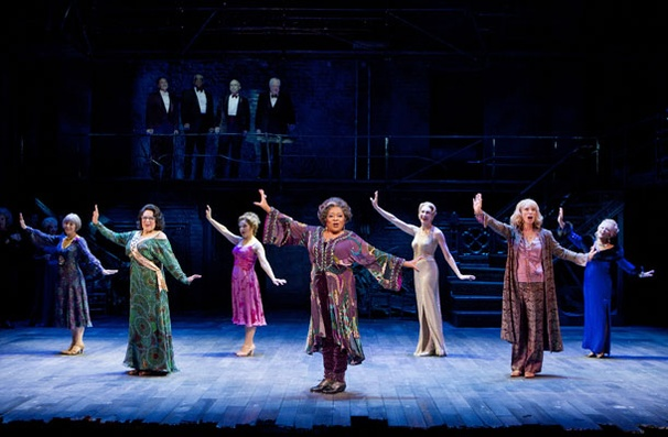 "Terri White leads Susan Watson, Florence Lacey, Bernadette Peters, Jan Maxwell, Colleen Fitzpatrick and Elaine Paige in ""Who's That Woman"" in the 2011 revival of Follies."