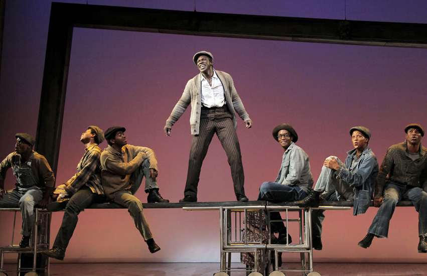 Joshua Henry and cast of The Scottsboro Boys
