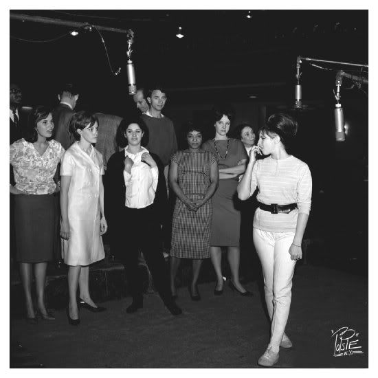 Barbra Streisand and company recording Funny Girl. Note Lainie Kazan, Barbra's standby, third from left.