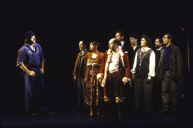 The original company of  Assassins : Eddie Korbich, Patrick Cassidy, Annie Golden, Lee Wilkoff, Victor Garber, Terrence Mann, Debra Monk, Jonathan Hadary and Greg Germann