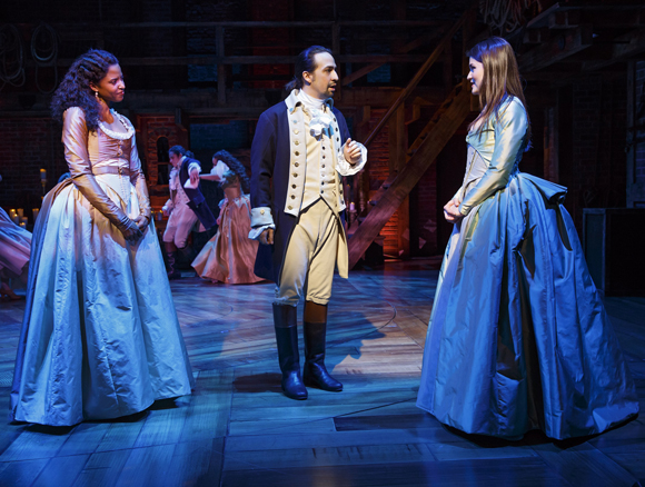 Renee Elise Goldsberry, Lin-Manuel Miranda and Philippa Soo in Hamilton.
