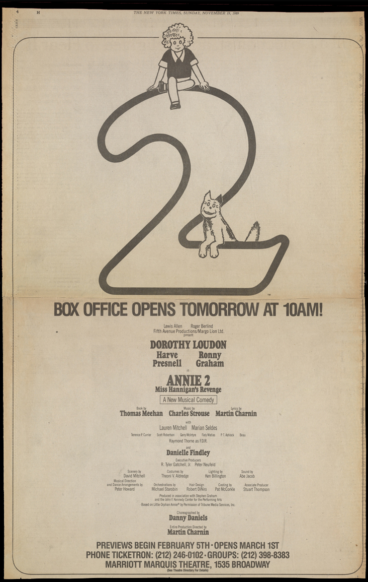 Annie 2: Miss Hannigan's Revenge  ad in  The New York Times
