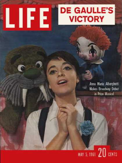 Anna Marie Aberghetti in Carnival on the cover of Life Magazine.