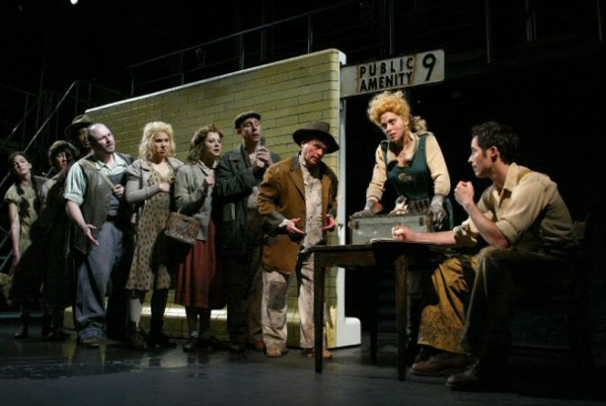 Carolee Carmello and the cast of Urinetown.