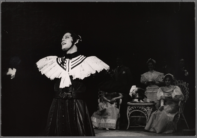 Raul Julia in the 1974 Broadway revival of  Where's Charley?