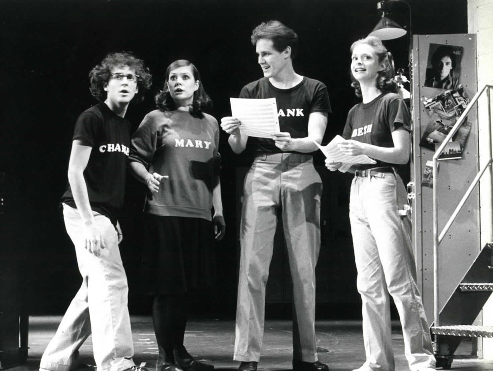 Lonny Price, Ann Morrison, Jim Walton, Sally Klein in the original Broadway production of  Merrily We Roll Along .