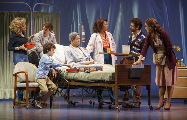 Betsy Wolfe, Christian Borle, Anthony Rosenthal, Andrew Rannells, Tracie Thoms, Brandon Uranowitz and Stephanie J. Block in  Falsettos .
