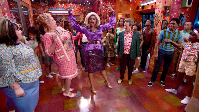 Maddie Baillio, Harvey Fierstein, Jennifer Hudson, Martin Short, Ephraim Sykes and Shahadi Wright Joseph in  Hairspray Live!