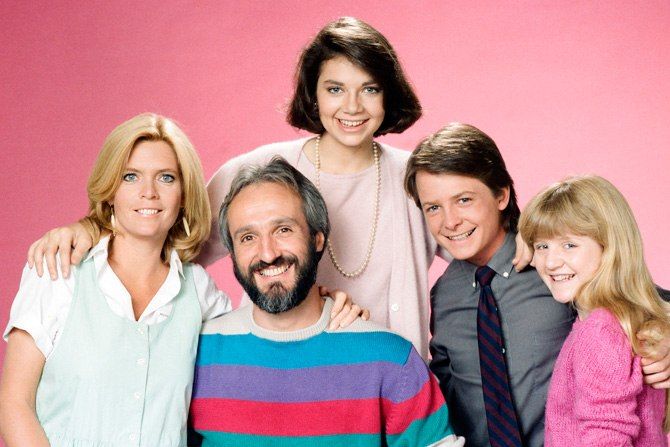 Meredith Baxter, Michael Gross, Justine Bateman, Michael J. Fox and Tina Yothers