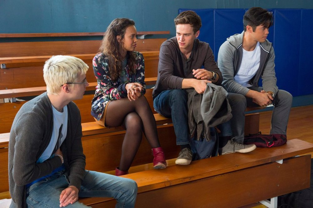 Miles Heizer, Ajiona Alexus, Brandon Flynn and Ross Butler in  13 Reasons Why