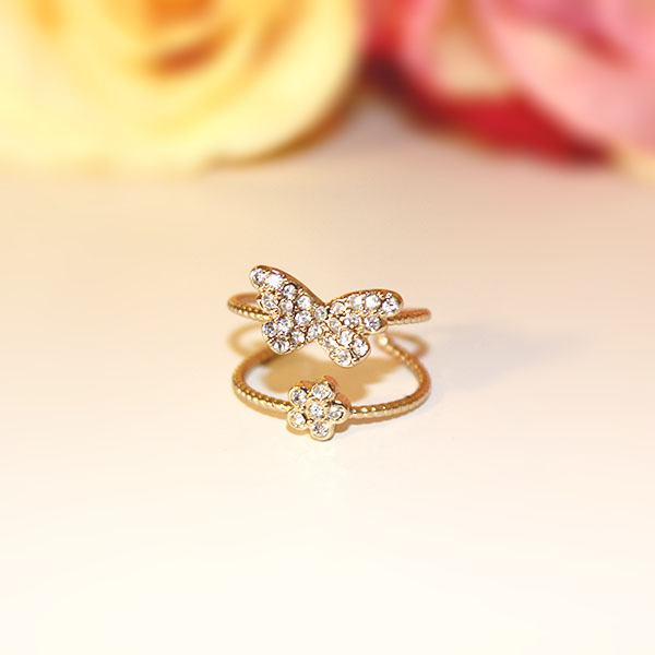 Pictured: Dainty Butterfly Flower Ring